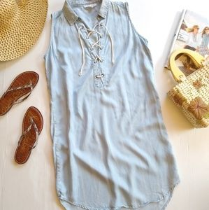 BeachLunchLounge • Chambray lace-up shift dress
